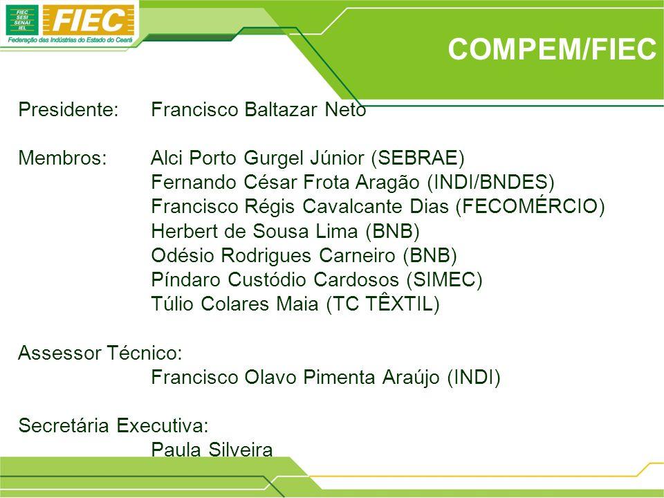 COMPEM/FIEC Presidente: Francisco Baltazar Neto Membros:Alci Porto Gurgel Júnior (SEBRAE) Fernando César Frota Aragão (INDI/BNDES) Francisco Régis Cav