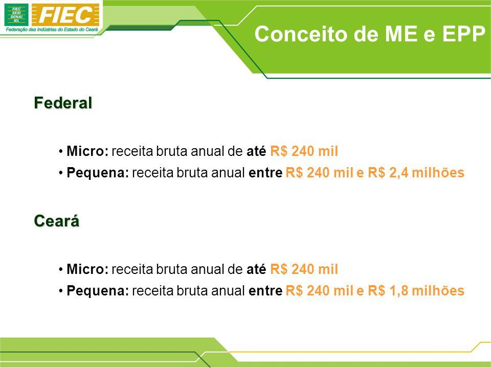 Conceito de ME e EPP Federal Micro: receita bruta anual de até R$ 240 mil Pequena: receita bruta anual entre R$ 240 mil e R$ 2,4 milhõesCeará Micro: r