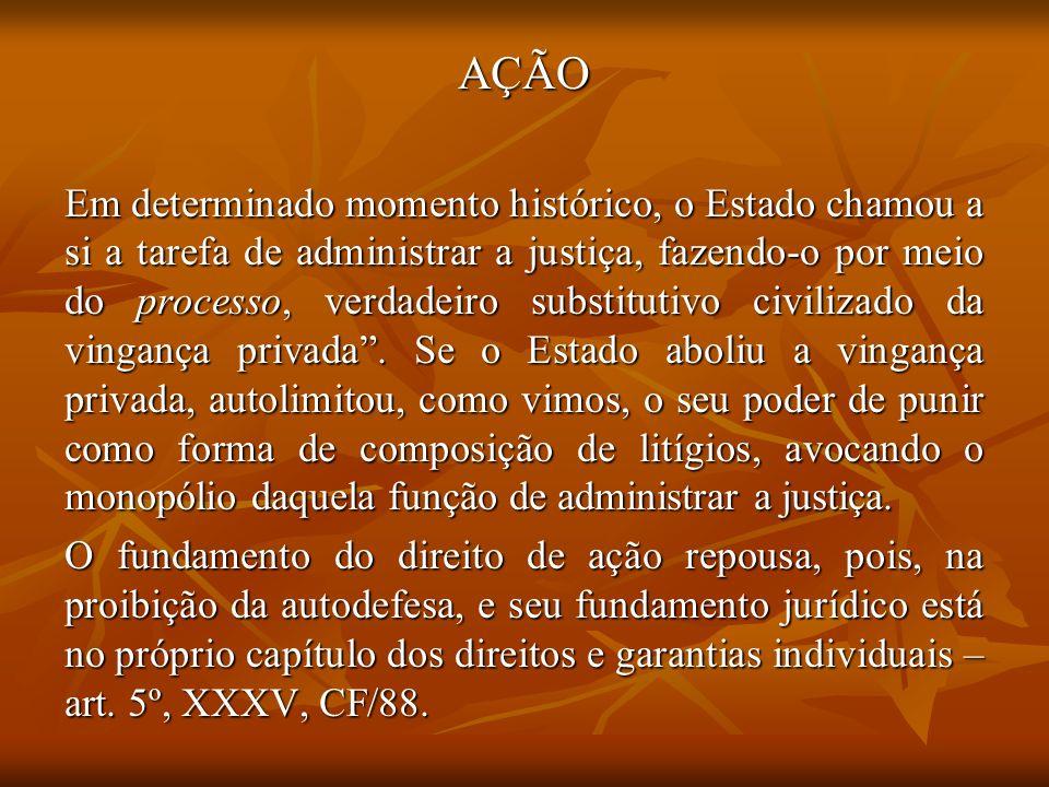 AÇÃO Em determinado momento histórico, o Estado chamou a si a tarefa de administrar a justiça, fazendo-o por meio do processo, verdadeiro substitutivo