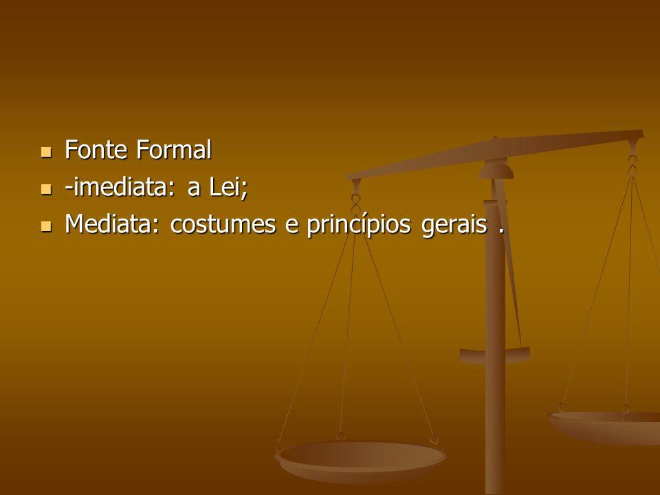 Fonte Formal Fonte Formal -imediata: a Lei; -imediata: a Lei; Mediata: costumes e princípios gerais. Mediata: costumes e princípios gerais.