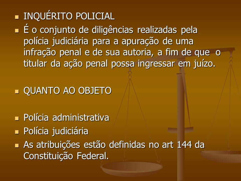 INQUÉRITO POLICIAL INQUÉRITO POLICIAL É o conjunto de diligências realizadas pela polícia judiciária para a apuração de uma infração penal e de sua autoria, a fim de que o titular da ação penal possa ingressar em juízo.