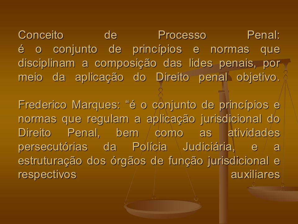 Conceito de Processo Penal: é o conjunto de princípios e normas que disciplinam a composição das lides penais, por meio da aplicação do Direito penal