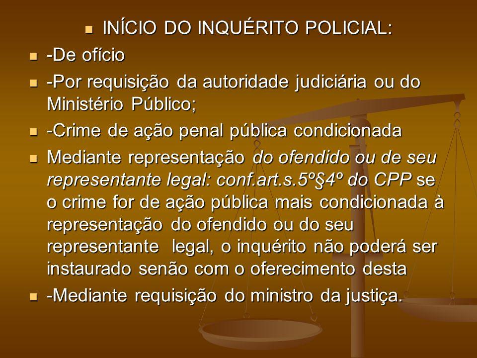 INÍCIO DO INQUÉRITO POLICIAL: INÍCIO DO INQUÉRITO POLICIAL: -De ofício -De ofício -Por requisição da autoridade judiciária ou do Ministério Público; -