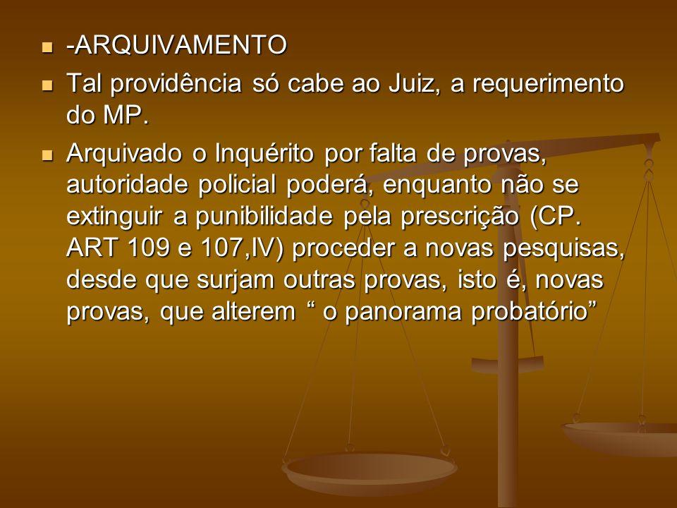 -ARQUIVAMENTO -ARQUIVAMENTO Tal providência só cabe ao Juiz, a requerimento do MP. Tal providência só cabe ao Juiz, a requerimento do MP. Arquivado o