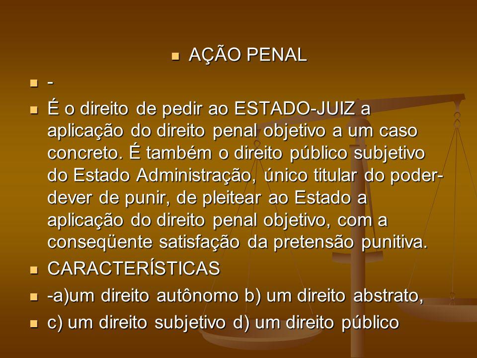 AÇÃO PENAL AÇÃO PENAL - É o direito de pedir ao ESTADO-JUIZ a aplicação do direito penal objetivo a um caso concreto.