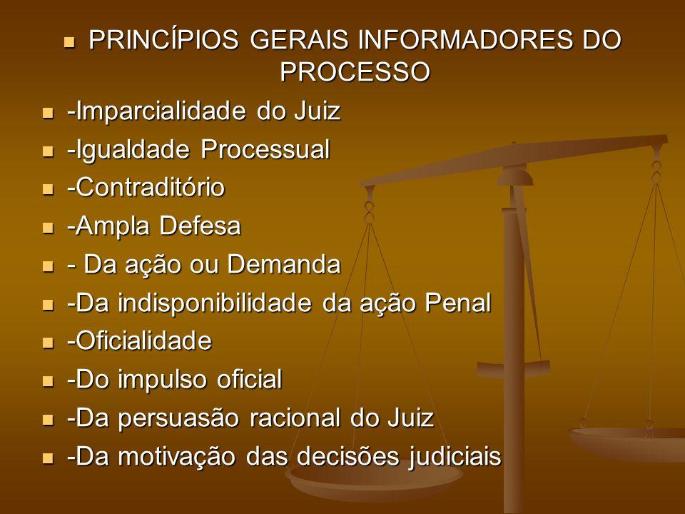 PRINCÍPIOS GERAIS INFORMADORES DO PROCESSO PRINCÍPIOS GERAIS INFORMADORES DO PROCESSO -Imparcialidade do Juiz -Imparcialidade do Juiz -Igualdade Processual -Igualdade Processual -Contraditório -Contraditório -Ampla Defesa -Ampla Defesa - Da ação ou Demanda - Da ação ou Demanda -Da indisponibilidade da ação Penal -Da indisponibilidade da ação Penal -Oficialidade -Oficialidade -Do impulso oficial -Do impulso oficial -Da persuasão racional do Juiz -Da persuasão racional do Juiz -Da motivação das decisões judiciais -Da motivação das decisões judiciais