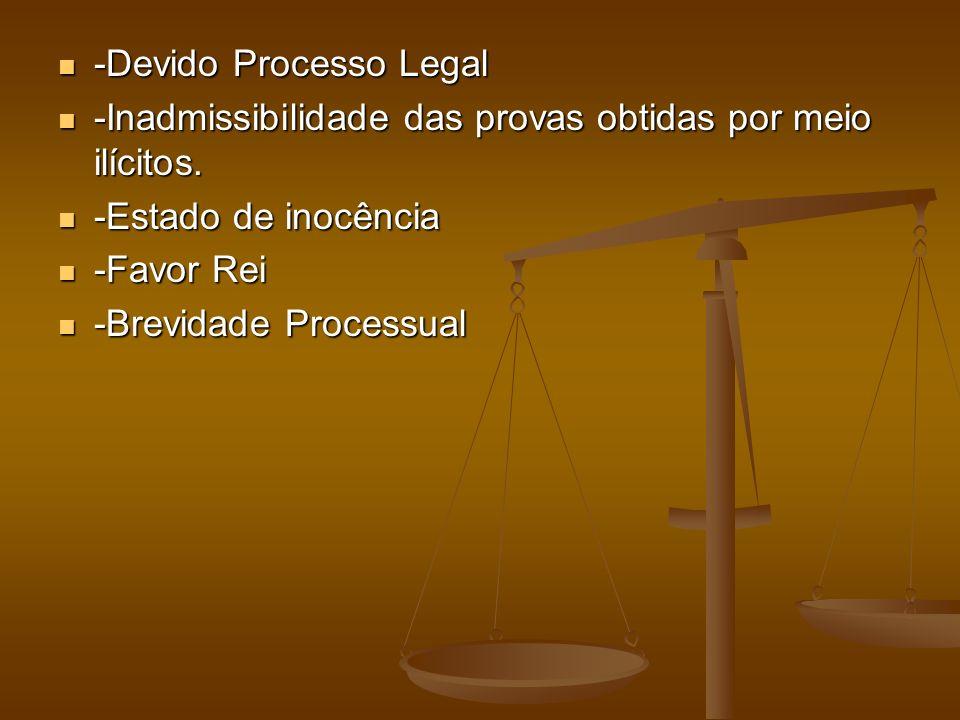 -Devido Processo Legal -Devido Processo Legal -Inadmissibilidade das provas obtidas por meio ilícitos. -Inadmissibilidade das provas obtidas por meio