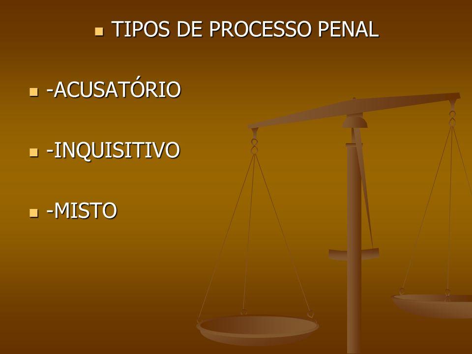 TIPOS DE PROCESSO PENAL TIPOS DE PROCESSO PENAL -ACUSATÓRIO -ACUSATÓRIO -INQUISITIVO -INQUISITIVO -MISTO -MISTO