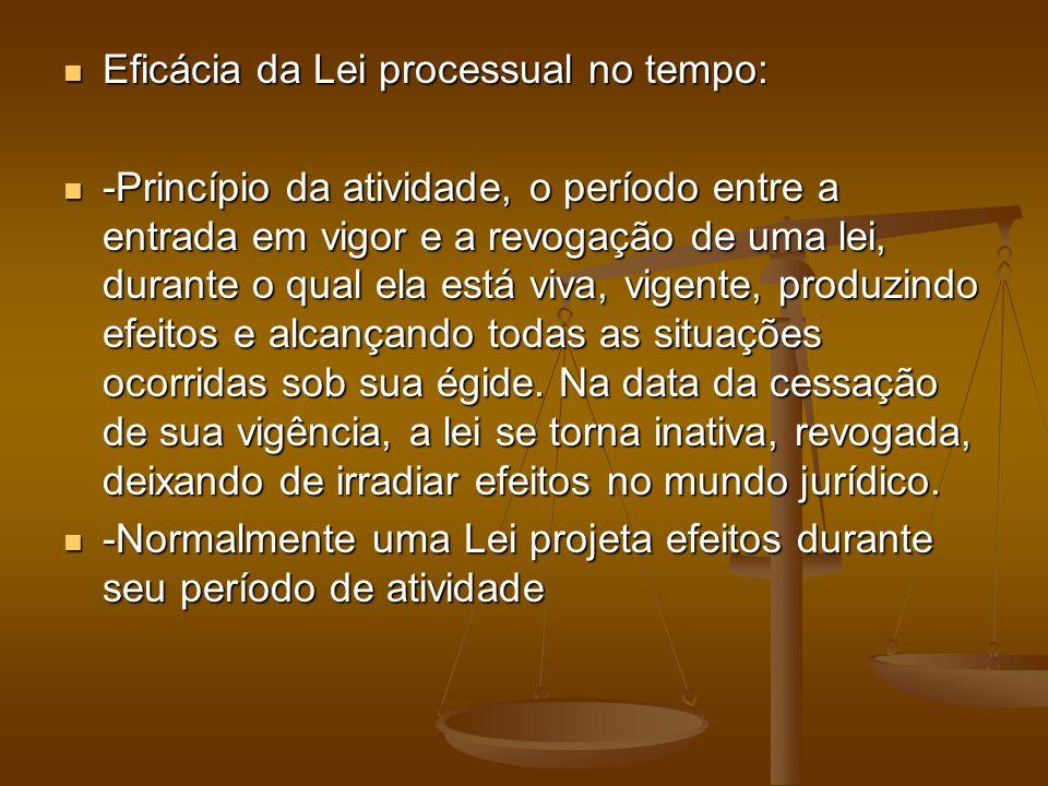 Eficácia da Lei processual no tempo: Eficácia da Lei processual no tempo: -Princípio da atividade, o período entre a entrada em vigor e a revogação de
