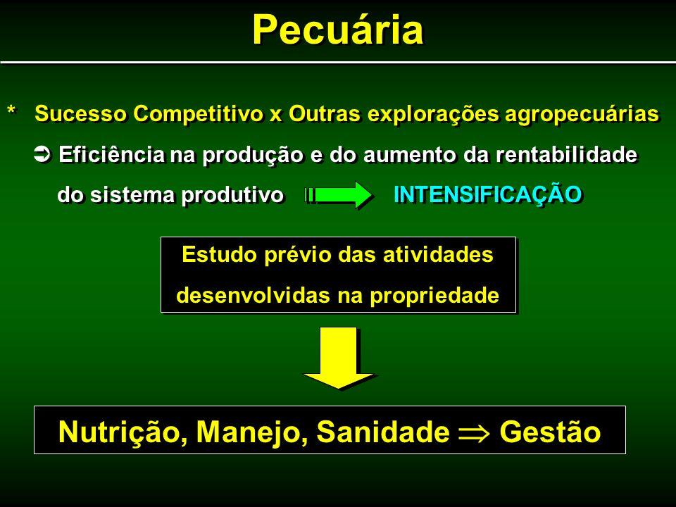 Pecuária * Sucesso Competitivo x Outras explorações agropecuárias Eficiência na produção e do aumento da rentabilidade do sistema produtivo INTENSIFIC