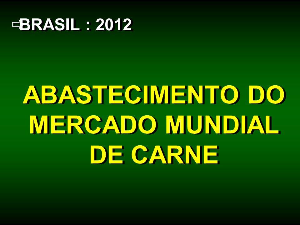 BRASIL : 2012 ABASTECIMENTO DO MERCADO MUNDIAL DE CARNE BRASIL : 2012 ABASTECIMENTO DO MERCADO MUNDIAL DE CARNE