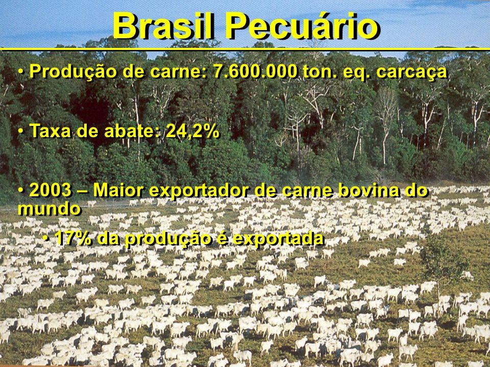 Brasil Pecuário Produção de carne: 7.600.000 ton. eq. carcaça Taxa de abate: 24,2% 2003 – Maior exportador de carne bovina do mundo 17% da produção é