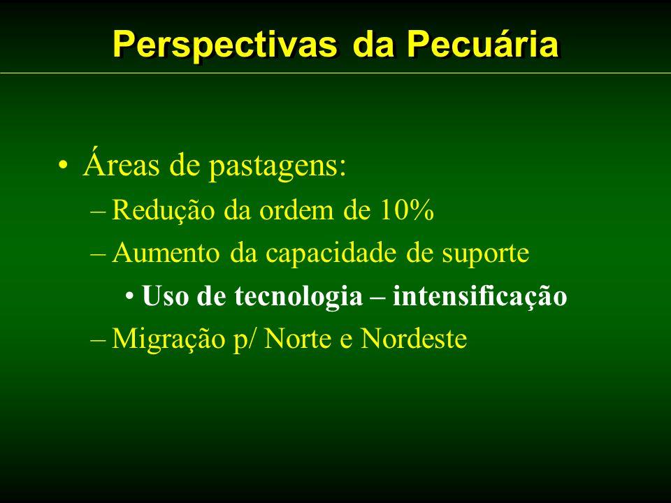Perspectivas da Pecuária Áreas de pastagens: –Redução da ordem de 10% –Aumento da capacidade de suporte Uso de tecnologia – intensificação –Migração p