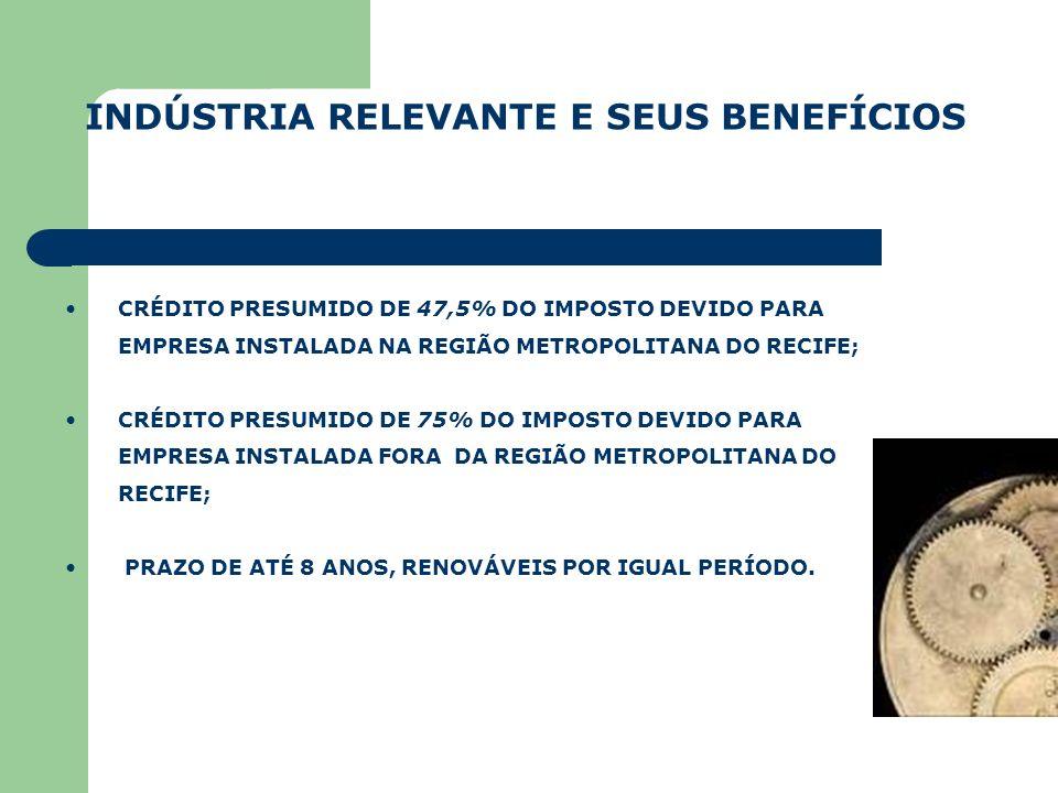 INDÚSTRIA RELEVANTE E SEUS BENEFÍCIOS CRÉDITO PRESUMIDO DE 47,5% DO IMPOSTO DEVIDO PARA EMPRESA INSTALADA NA REGIÃO METROPOLITANA DO RECIFE; CRÉDITO P