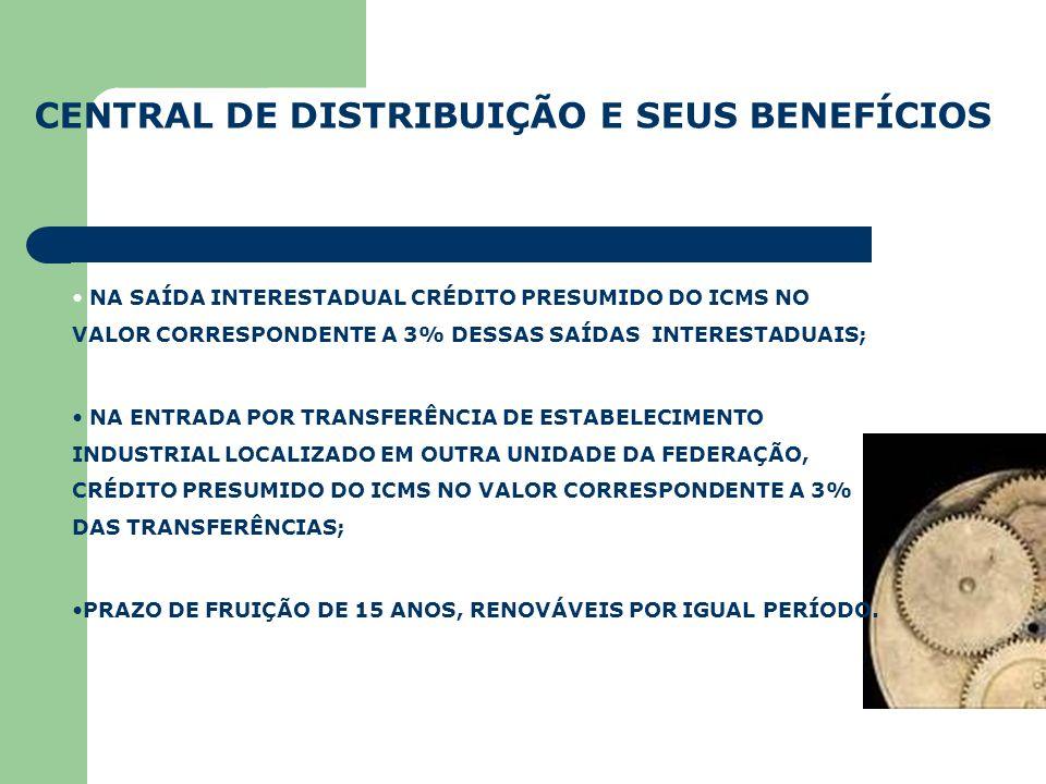 CENTRAL DE DISTRIBUIÇÃO E SEUS BENEFÍCIOS NA SAÍDA INTERESTADUAL CRÉDITO PRESUMIDO DO ICMS NO VALOR CORRESPONDENTE A 3% DESSAS SAÍDAS INTERESTADUAIS;