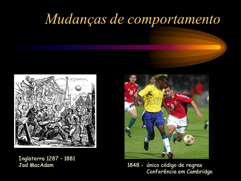 Mudanças de comportamento Inglaterra 1287 – 1881 Jad MacAdam 1848 - único código de regras Conferência em Cambridge