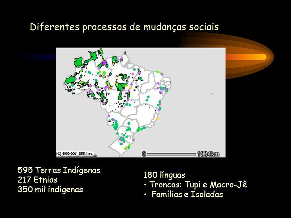 Diferentes processos de mudanças sociais 595 Terras Indígenas 217 Etnias 350 mil indígenas 180 línguas Troncos: Tupi e Macro-Jê Famílias e Isoladas