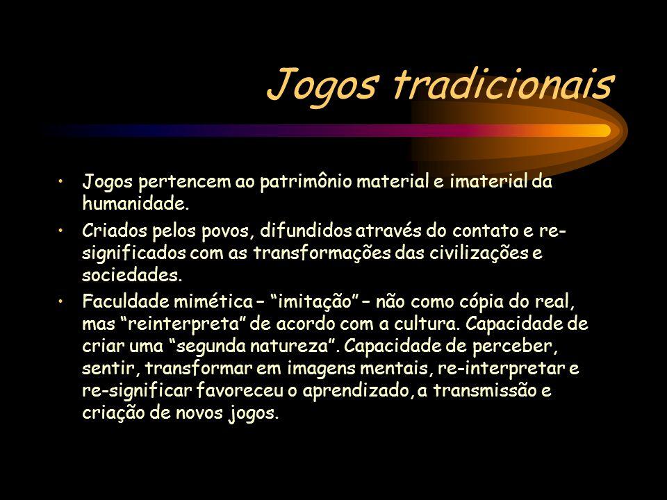 Jogos tradicionais Jogos pertencem ao patrimônio material e imaterial da humanidade. Criados pelos povos, difundidos através do contato e re- signific