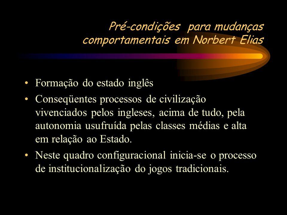 Pré-condições para mudanças comportamentais em Norbert Elias Formação do estado inglês Conseqüentes processos de civilização vivenciados pelos inglese