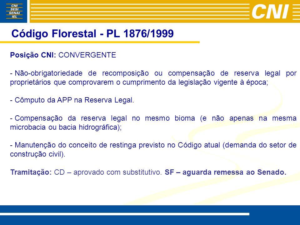 Código Florestal - PL 1876/1999 Posição CNI: CONVERGENTE - - Não-obrigatoriedade de recomposição ou compensação de reserva legal por proprietários que comprovarem o cumprimento da legislação vigente à época; - - Cômputo da APP na Reserva Legal.