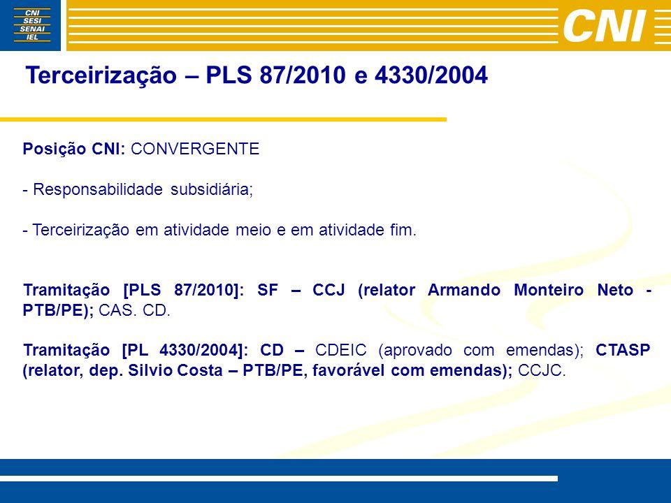 Terceirização – PLS 87/2010 e 4330/2004 Posição CNI: CONVERGENTE - - Responsabilidade subsidiária; - - Terceirização em atividade meio e em atividade fim.