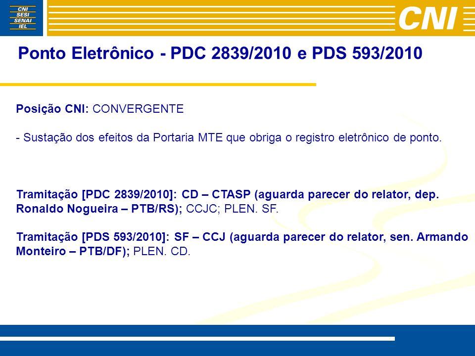 Ponto Eletrônico - PDC 2839/2010 e PDS 593/2010 Posição CNI: CONVERGENTE - - Sustação dos efeitos da Portaria MTE que obriga o registro eletrônico de ponto.