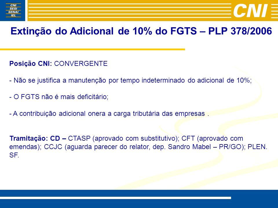 Extinção do Adicional de 10% do FGTS – PLP 378/2006 Posição CNI: CONVERGENTE - - Não se justifica a manutenção por tempo indeterminado do adicional de 10%; - - O FGTS não é mais deficitário; - - A contribuição adicional onera a carga tributária das empresas.