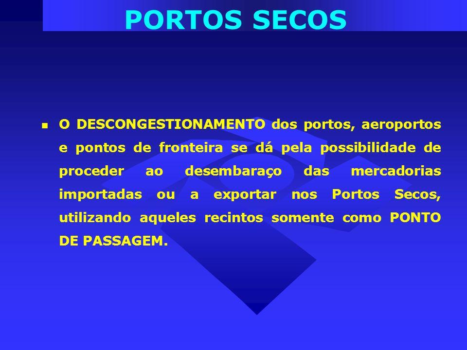 O DESCONGESTIONAMENTO dos portos, aeroportos e pontos de fronteira se dá pela possibilidade de proceder ao desembaraço das mercadorias importadas ou a