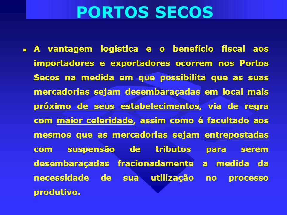 A vantagem logística e o benefício fiscal aos importadores e exportadores ocorrem nos Portos Secos na medida em que possibilita que as suas mercadoria