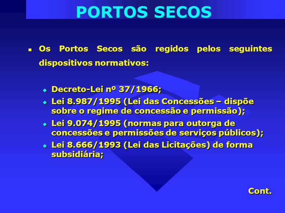Os Portos Secos são regidos pelos seguintes dispositivos normativos: Decreto-Lei nº 37/1966; Decreto-Lei nº 37/1966; Lei 8.987/1995 (Lei das Concessõe