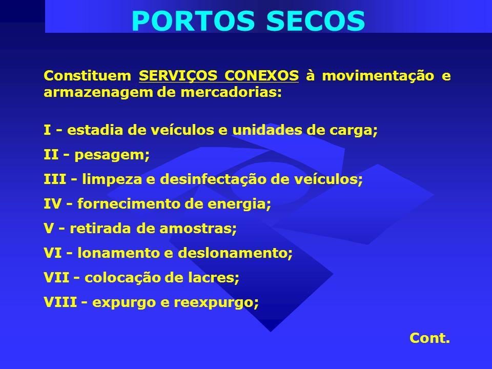 PORTOS SECOS Constituem SERVIÇOS CONEXOS à movimentação e armazenagem de mercadorias: I - estadia de veículos e unidades de carga; II - pesagem; III -