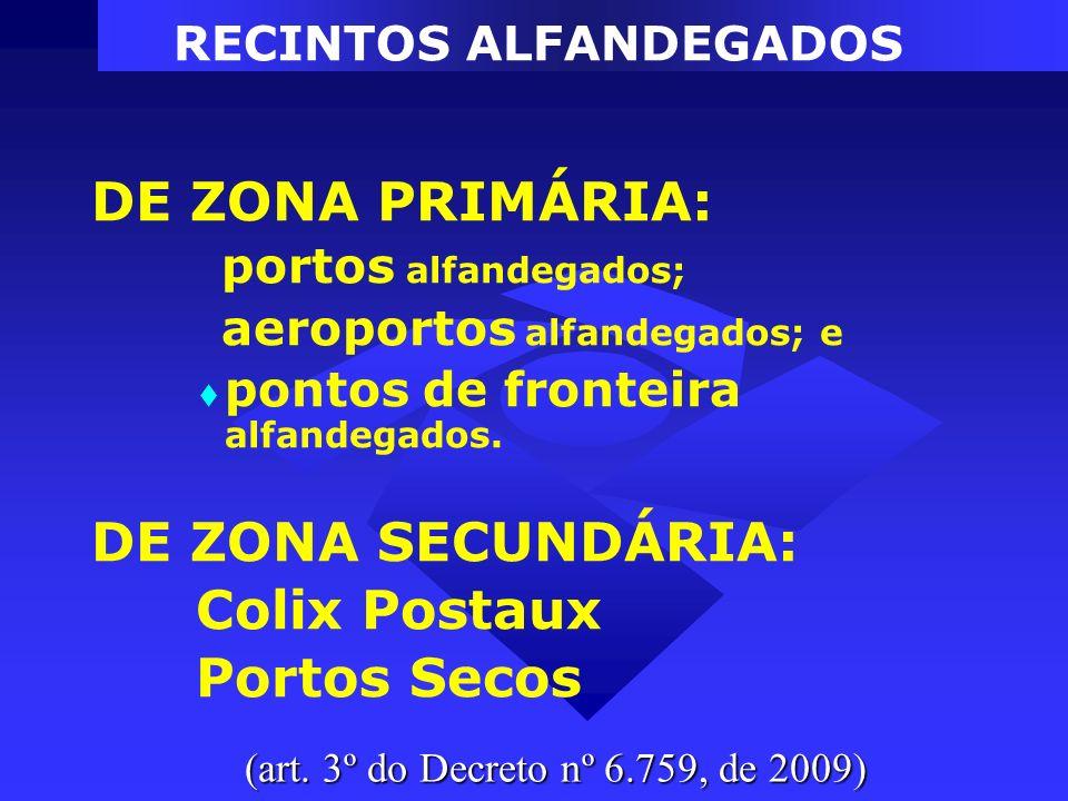 RECINTOS ALFANDEGADOS DE ZONA PRIMÁRIA: portos alfandegados; aeroportos alfandegados; e pontos de fronteira alfandegados. DE ZONA SECUNDÁRIA: Colix Po