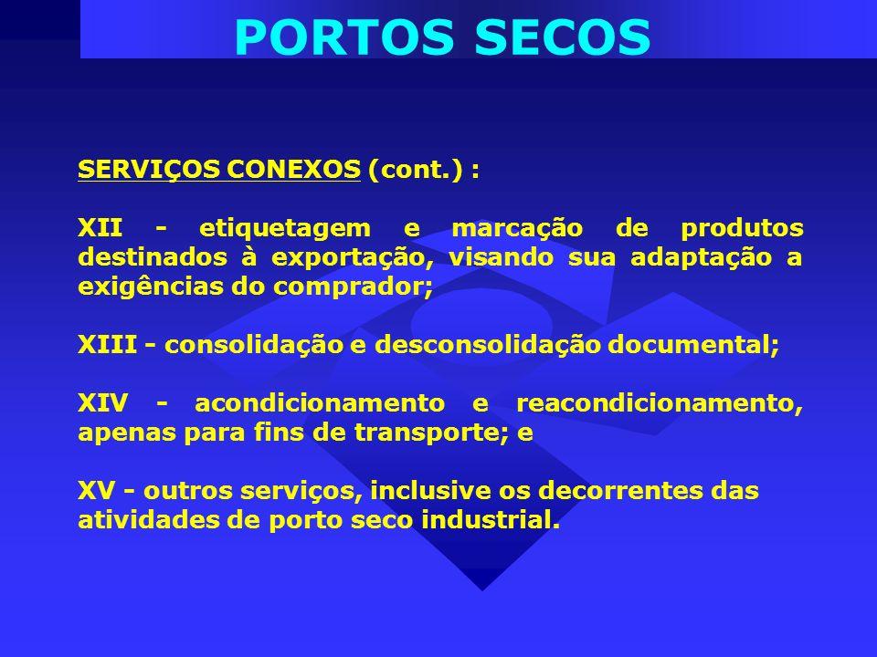 PORTOS SECOS SERVIÇOS CONEXOS (cont.) : XII - etiquetagem e marcação de produtos destinados à exportação, visando sua adaptação a exigências do compra