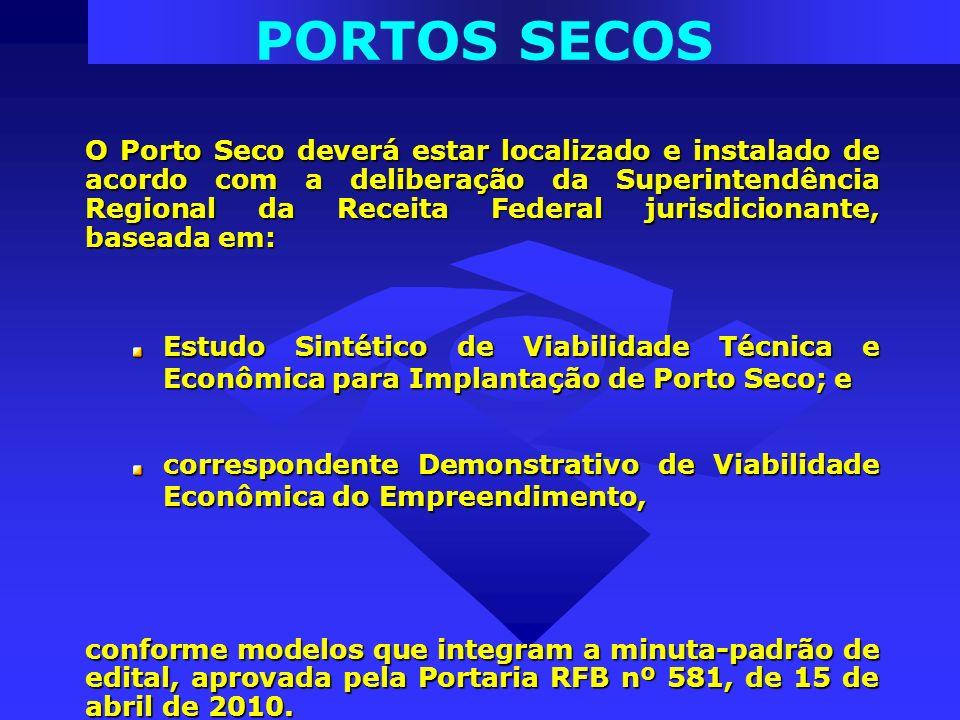 PORTOS SECOS O Porto Seco deverá estar localizado e instalado de acordo com a deliberação da Superintendência Regional da Receita Federal jurisdiciona