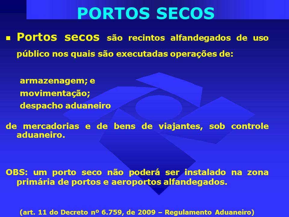 PORTOS SECOS Portos secos são recintos alfandegados de uso público nos quais são executadas operações de: armazenagem; e movimentação; despacho aduane