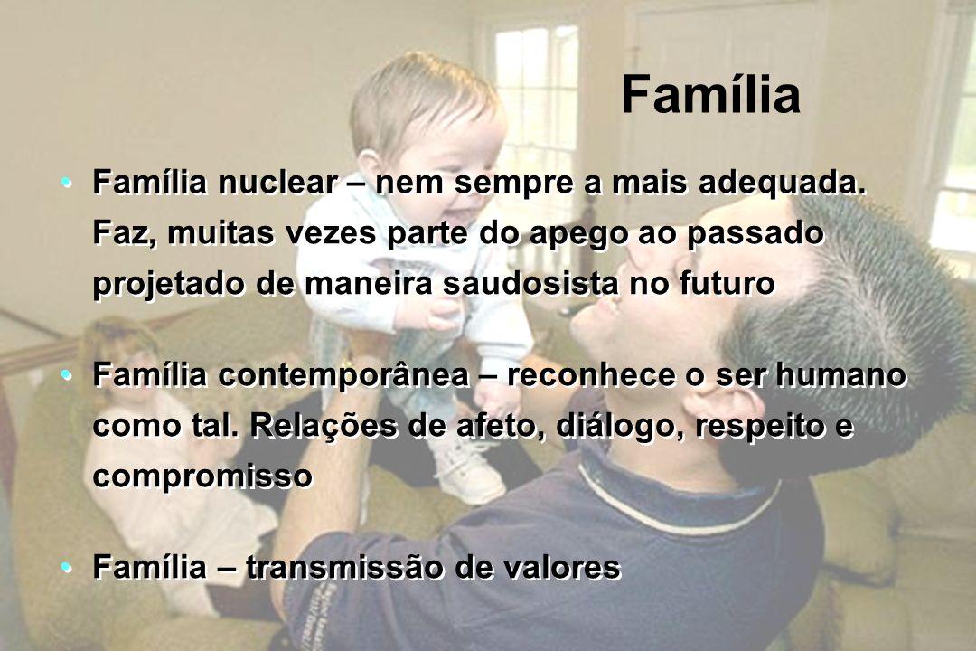 Família Família nuclear – nem sempre a mais adequada. Faz, muitas vezes parte do apego ao passado projetado de maneira saudosista no futuro Família co