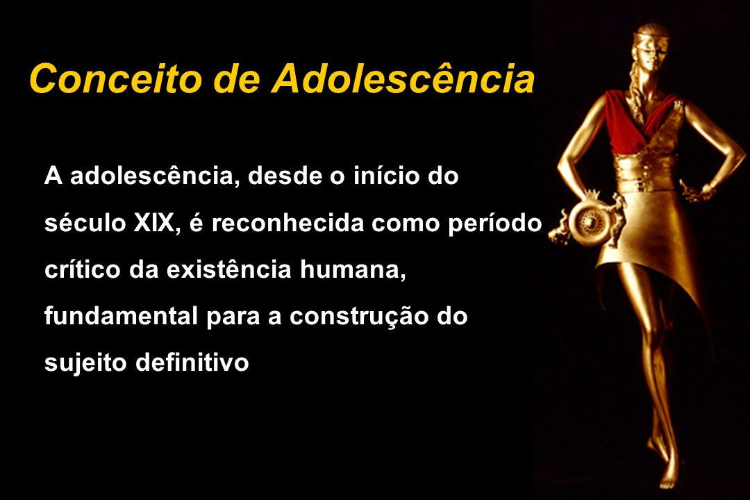 Conceito de Adolescência A adolescência, desde o início do século XIX, é reconhecida como período crítico da existência humana, fundamental para a con