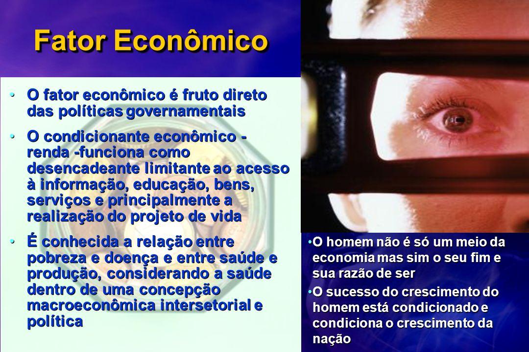 Fator Econômico O fator econômico é fruto direto das políticas governamentais O condicionante econômico - renda -funciona como desencadeante limitante
