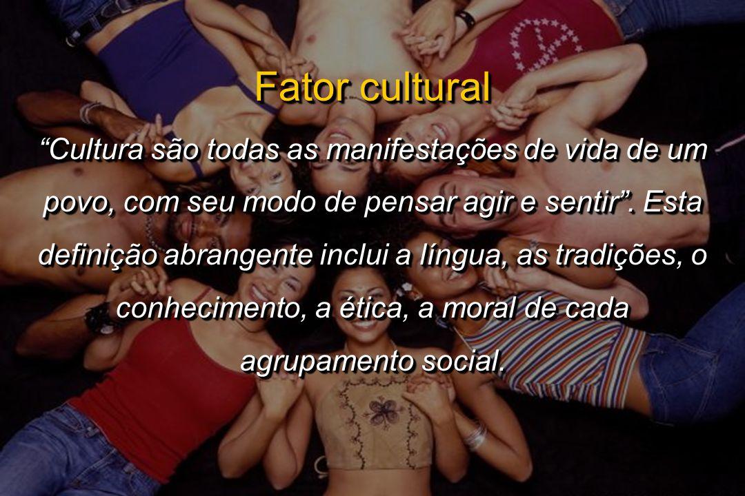 Fator cultural Cultura são todas as manifestações de vida de um povo, com seu modo de pensar agir e sentir. Esta definição abrangente inclui a língua,