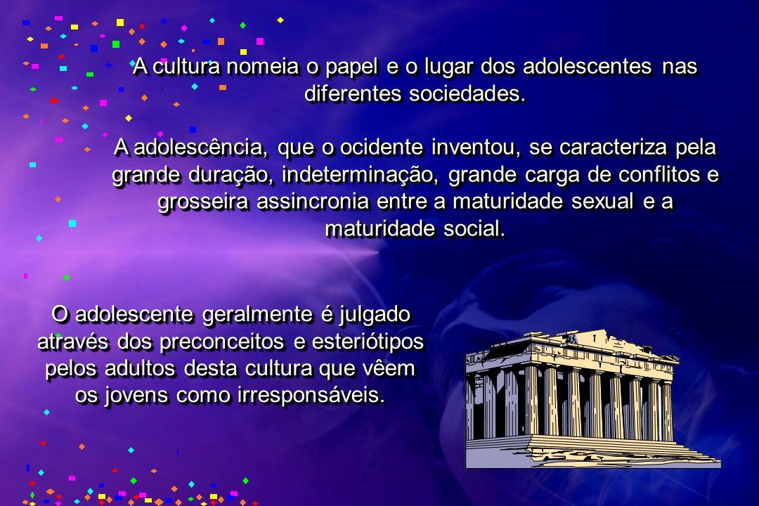 A cultura nomeia o papel e o lugar dos adolescentes nas diferentes sociedades. A adolescência, que o ocidente inventou, se caracteriza pela grande dur