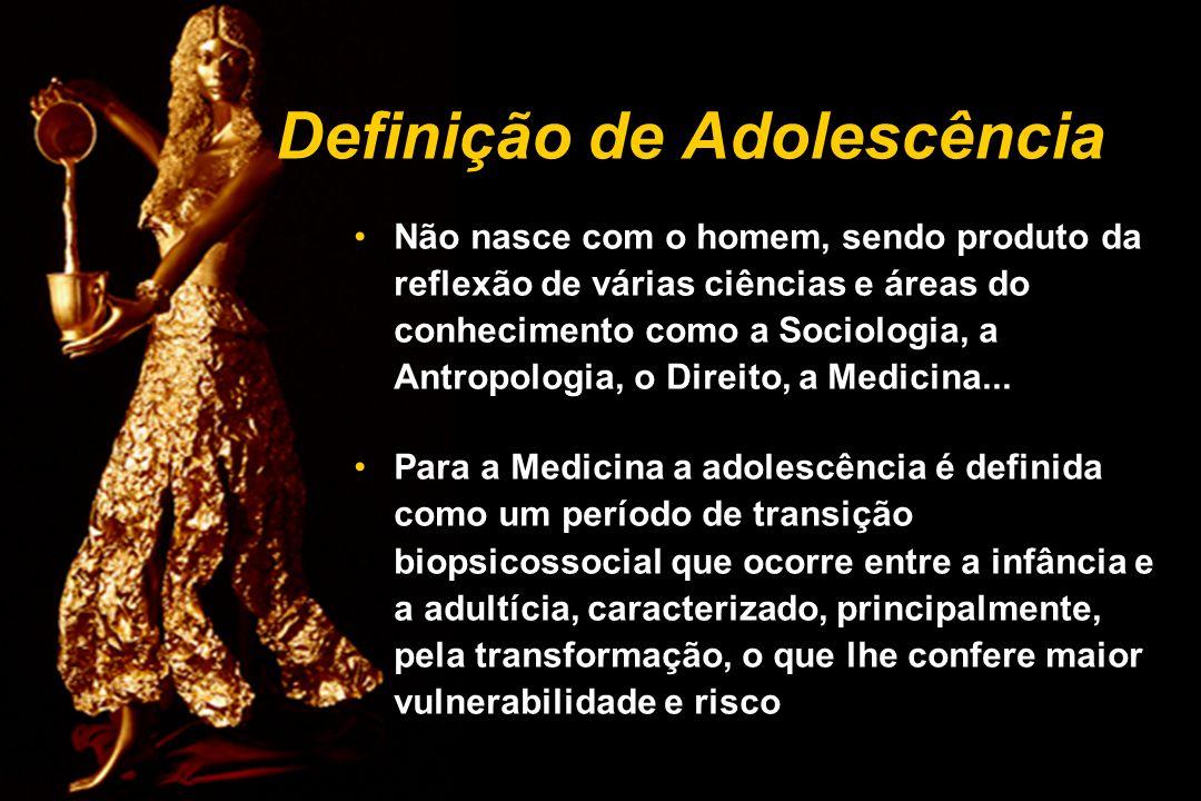 Definição de Adolescência Não nasce com o homem, sendo produto da reflexão de várias ciências e áreas do conhecimento como a Sociologia, a Antropologi