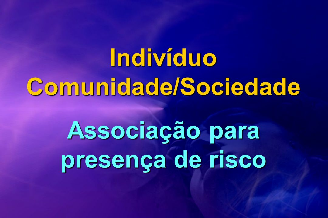 Indivíduo Comunidade/Sociedade Associação para presença de risco