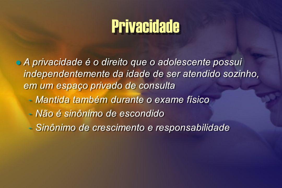 Privacidade A privacidade é o direito que o adolescente possui independentemente da idade de ser atendido sozinho, em um espaço privado de consulta -M
