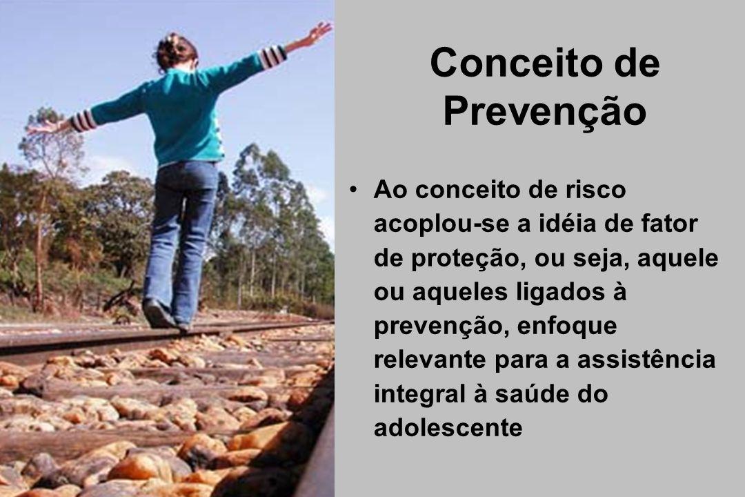 Conceito de Prevenção Ao conceito de risco acoplou-se a idéia de fator de proteção, ou seja, aquele ou aqueles ligados à prevenção, enfoque relevante