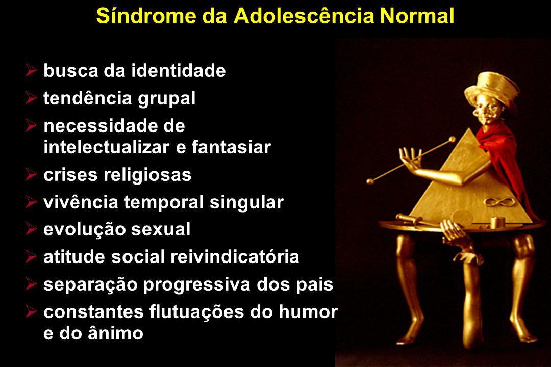 Síndrome da Adolescência Normal busca da identidade tendência grupal necessidade de intelectualizar e fantasiar crises religiosas vivência temporal si