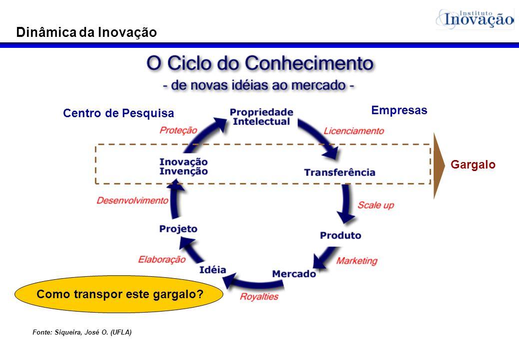 Dinâmica da Inovação Como transpor este gargalo? Centro de Pesquisa Empresas Fonte: Siqueira, José O. (UFLA) Gargalo