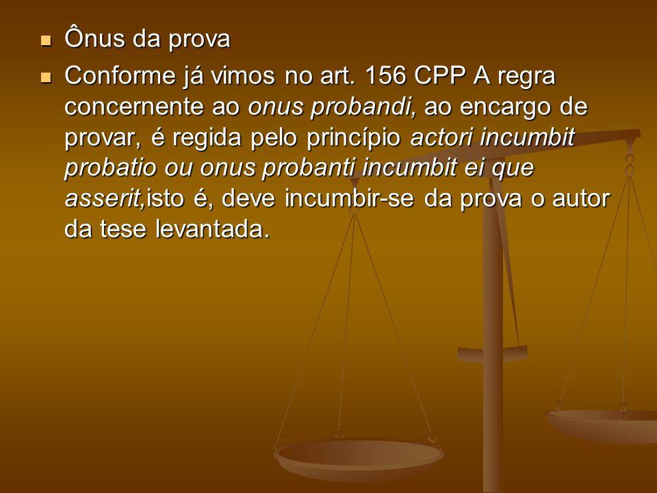 Ônus da prova Ônus da prova Conforme já vimos no art. 156 CPP A regra concernente ao onus probandi, ao encargo de provar, é regida pelo princípio acto