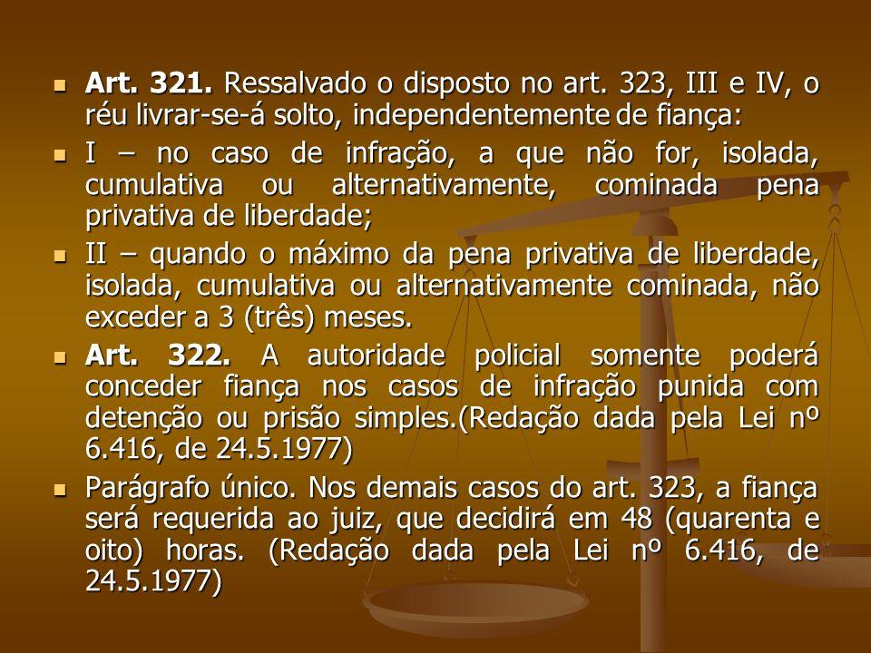 Art.323. Não será concedida fiança: Art. 323.