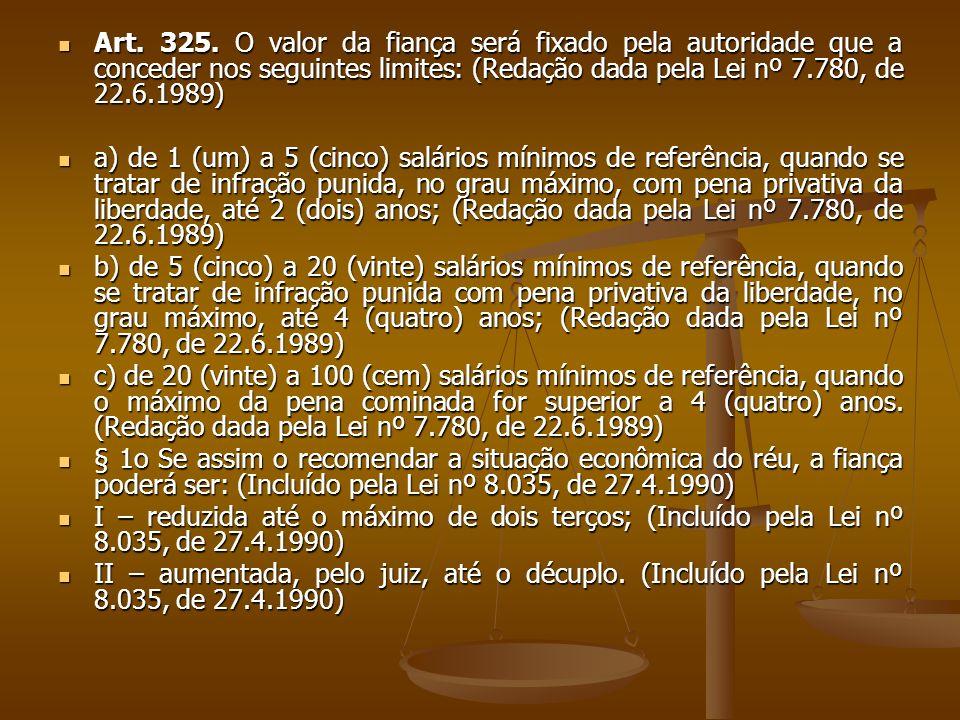 Art. 325. O valor da fiança será fixado pela autoridade que a conceder nos seguintes limites: (Redação dada pela Lei nº 7.780, de 22.6.1989) Art. 325.
