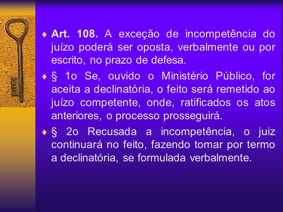 Art. 108. A exceção de incompetência do juízo poderá ser oposta, verbalmente ou por escrito, no prazo de defesa. § 1o Se, ouvido o Ministério Público,